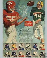 1971 PAPER AD 2 PG Rawlings NFL Team Logo Helmets Jersey Pants Pads