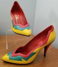 Vintage Chandlers Brazilian Yellow Red Green Leather High Heel Pumps Sz 9 New