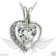 Brilliant AAA Grade Cubic Zircon CZ 925 Sterling Silver Heart Pendant S415406