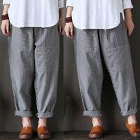 Aimple Femme 100% Coton Loose Taille elastique Bande Longue Cargo Pantalons Plus