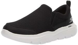 Skechers Mens Evolution Low Top Slip On Fashion Sneakers, Black/White, Size 12.0