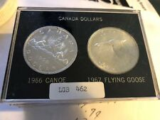 CANADA 1966 CANOE & 1967 GOOSE SILVER DOLLARS IN PLASTIC HOLDER