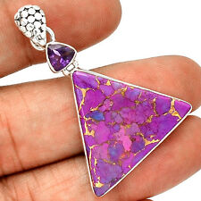 Copper Purple Turquoise 925 Sterling Silver Pendant  Jewelry PP57065