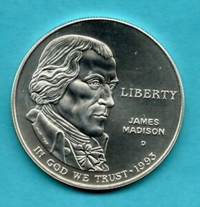 USA 1993 SILVER DOLLAR COIN. DENVER MINT. UNITED STATES AMERICA. JAMES MADISON.