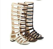 Womens Casual Gladiator Roman Sandals Block Heels Knee High Boots Open Toe Shoes