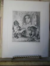 Vintage Print,GERMAN STEEL ENGRAVING,Reynard Fox,1840