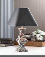 RECAST TABLE LAMP WEATHERED FINISH CERAMIC BASE FABRIC SHADE-10016961