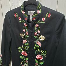 NWOT Victor Costa Floral Embroidered Long Coat Jacket Size XS