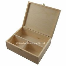 Large Pine wood storage box with 3 compartments DD402 Memory Craft Keepsake