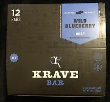 Krave Bar, NEW Beef Jerky, Wild Blueberry Beef Fruit & Quinoa 12 - 1.25 OZ BARS