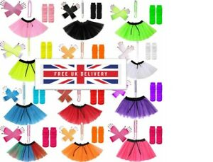 Stylish Kids Adults Neon UV 1980 Girl Fancy Dress Party TUTU Set
