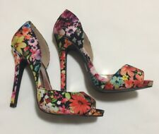 Charlotte Russe Floral Print Open Peep Toe Stiletto Heels Size 7 Colorful Bright