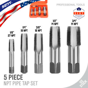 """5 Pieces NPT Taper Pipe Tap Set 1/8"""" 1/4"""" 3/8"""" 1/2"""" and 3/4"""" With Case SAE Inch"""