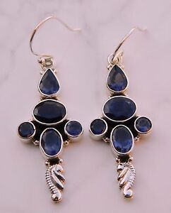 7.30 Gm 925 Solid Sterling Silver Natural Iolite Cut Gemstone Fine Earring R-522