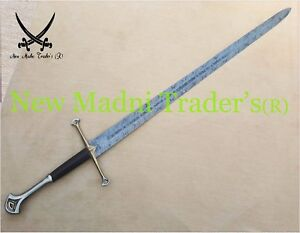 """52"""" DAMASCUS ANDURIL LORD OF RING LONG SWORD WITH FREE LEATHER SHEATH"""