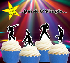 #650. Hip Hop dancers EDIBLE cupcake cake toppers birthday Disco Dancing