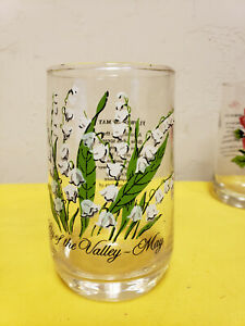 Vintage Brockway Flower of the Month drinking Glass  Lily of the valley --May