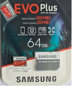 NEW Samsung plus 64GB micro SD SDXC Class 10 memory card with Adp 2020 FHD