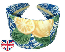 Blue Majolica Headband- Fabric with Lemons-Reversible-Turban-Handmade London