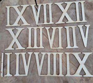 Römische Zahlen 1 bis 12 aus Holz 12cm Höhe Uhr Basteln Deko