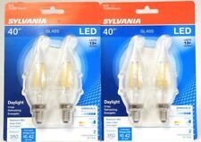2 Packs Sylvania B10 Glass 40W LED Daylight 2 Ct Dimmable 350 Lumens Light Bulbs