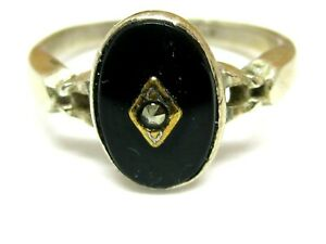 ANT.ARTISAN GAINSBORO STERLING SILVER+gold BALCK ONYX  MARCASITE RING  SIZE 7