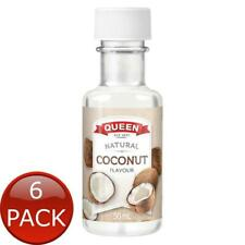 6 x QUEEN NATURAL FOOD ESSENCE COCONUT 50mL BOTTLE BAKING FLAVOURING EXTRACTS