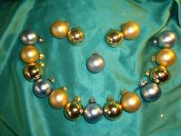 ~ Konvolut 18 kleine alte Christbaumkugeln Glas gold blau Weihnachtskugeln CBS