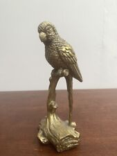 More details for gold colour effect hard resin parrot on perch statue ornament figurine