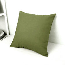 Olive Green Cotton Canvas Soild Throw PillowCase Cushion Covers Zipper 50x50cm