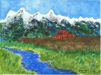 FOLK ART PRIMITIVE BLUE STREAM RIVER BARN LANDSCAPE MOUNTAINS US OREGON PAINTING