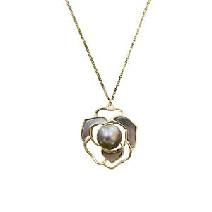 Amazing 9.5-10mm Tahitian Seawater grey Black Pearl Silver gold Flower pendant