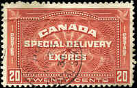 1930 Used Canada 20c F Scott #E4 Special Delivery Stamp