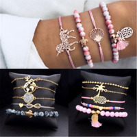 5X Women Animal Horse Tree Tassels Round Bead Bracelet Bangle Chain Jewelry DIY
