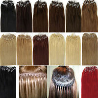 Easy Loop Micro Ring Beads Tip Brazilian Remy Human Hair Extensions Straight 18""