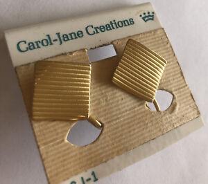 Vintage 1980s Estate Deadstock Screwback Carol Jane  Earrings Gold Square