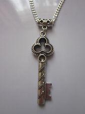 Plata antigua Colgante Llave collar Steampunk/Vintage/Gótico 53.3cm cadena