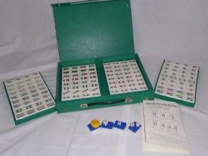 NOS Vtg Travel Mah Jong Jongg Set 144 Tiles Still Sealed Green Vinyl Case