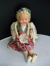 "VINTAGE 1950'S CLOTH DOLL CELLULOID FACE 13"" POLAND"