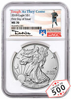 2018 1 oz. American Silver Eagle $1 NGC MS70 FDI Travis Mills Signed SKU53461
