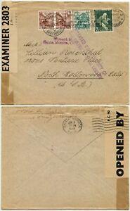 WW2 INTERCEPTED BERMUDA CENSOR 1942 INTERRUPTED 3 MONTHS Missent USA SWITZERLAND