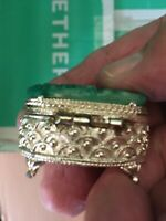 Vintage Gold Tone Pill Box With Faux Jade Carved -FLORAL