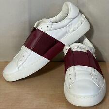 Valentino Garavani White Leather & Maroon Women's Flat Sneakers Shoes Sz.39/9