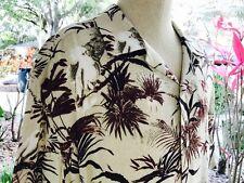 Claiborne Men's Tropical Theme Brown & Burgundy Short Sleeve Shirt Size XL - EUC
