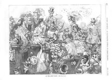 At The Ascot Race -  High Society  - Victorian Fashions  -  1870  Antique Print