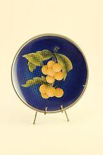 """Vtg Asian Unique Oranges Fruit Blue Cloisonne Enamel 5"""" Plate Dish on Stand"""