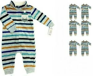 Carter's 6M Baby 1-Piece Striped Zip-Up Fleece Sleep & Play, Walrus-Lot of 6