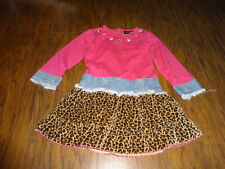 BOUTIQUE MY VINTAGE BABY 4T PINK BEADED LEOPARD CHEETAH DRESS