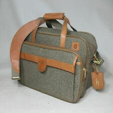 HARTMANN TWEED W/ LEATHER WEEKENDER COMPACT DUFFEL CARRY-ON WITH STRAP GREAT