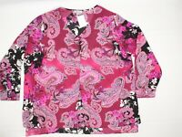 Chenault Dressbarn Womens Blouse 22/24 Red Pink Black White Paisley Print Top